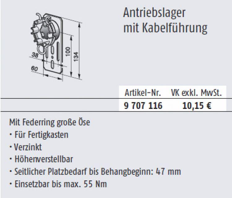 Somfy 9707116 Antriebslager mit Kabelführung für Baureihe 50/60